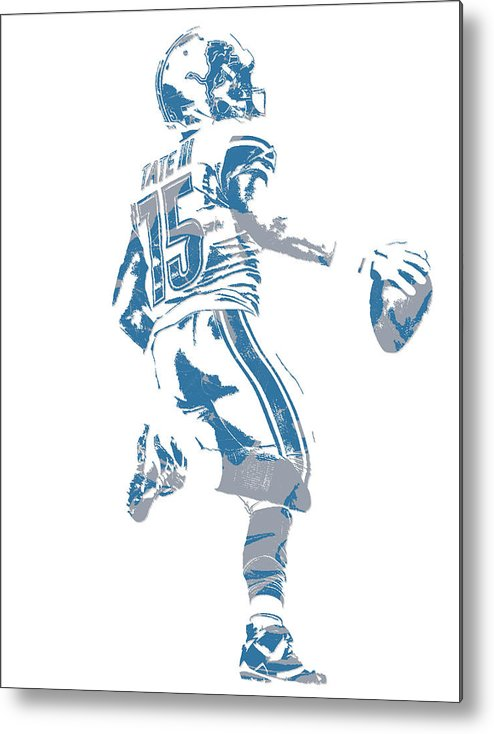 Golden Tate Metal Print featuring the mixed media Golden Tate Detroit Lions Pixel Art 1 by Joe Hamilton