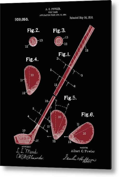 Golf Metal Print featuring the digital art Golf Club Patent Drawing Black 2 by Bekim Art