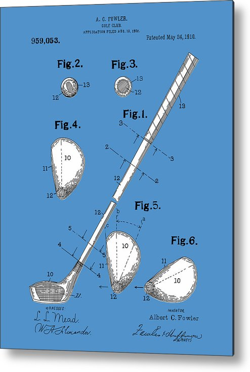 Golf Metal Print featuring the digital art Golf Club Patent Drawing Blue by Bekim Art
