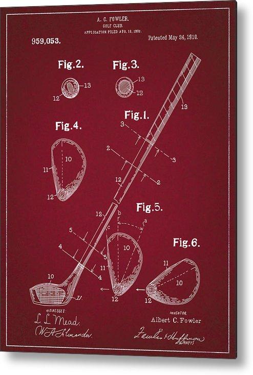 Golf Metal Print featuring the digital art Golf Club Patent Drawing Dark Red by Bekim Art