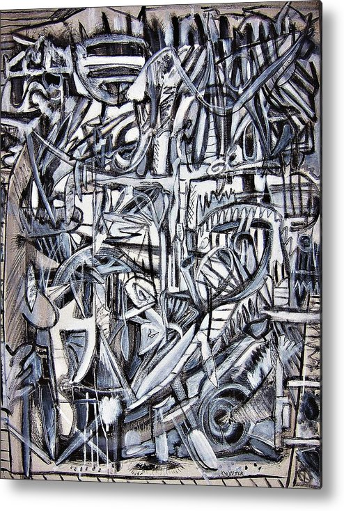 Abstract Black White Metal Print featuring the painting Grad by Dave Kwinter