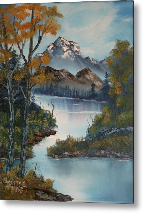 Oil Painting Metal Print featuring the painting Grand Mountain by Larry Hamilton
