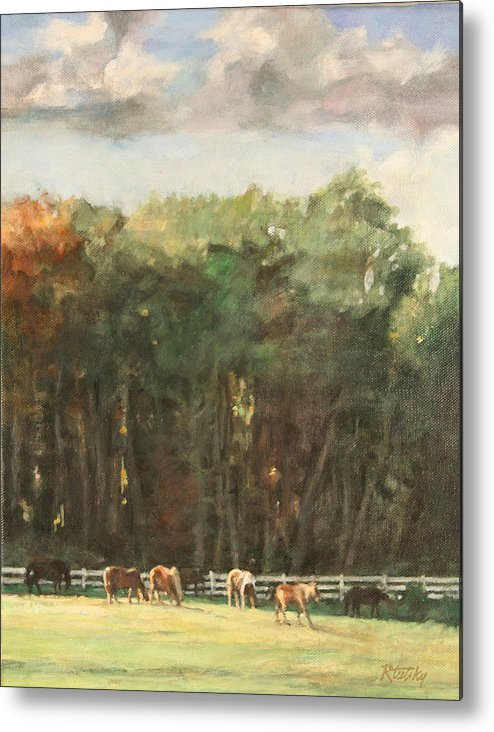 Horse Metal Print featuring the painting Grazing Horses by Robert Tutsky