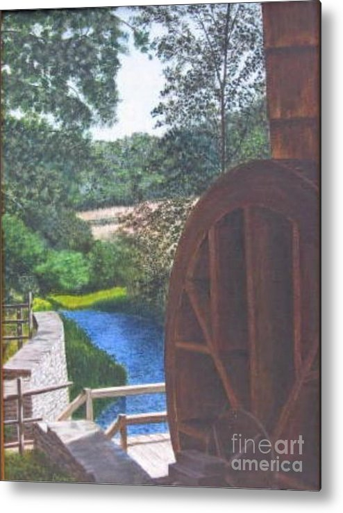 Painting Metal Print featuring the painting Grist Mill by Donald Hofer