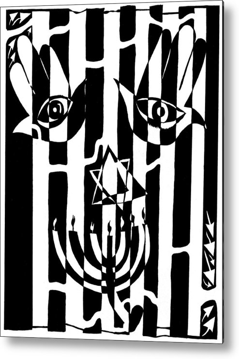 Judaica Metal Print featuring the drawing Happy Judaica Maze Art by Yonatan Frimer Maze Artist