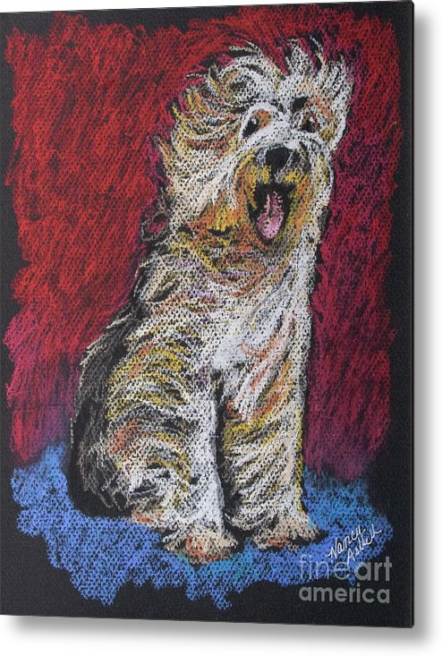 English Sheepdog Metal Print featuring the painting Happy The English Sheepdog by Michele Hollister - for Nancy Asbell