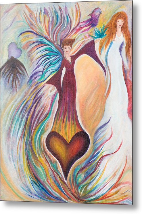 Heart Metal Print featuring the painting Heart Goddess by Leti C Stiles