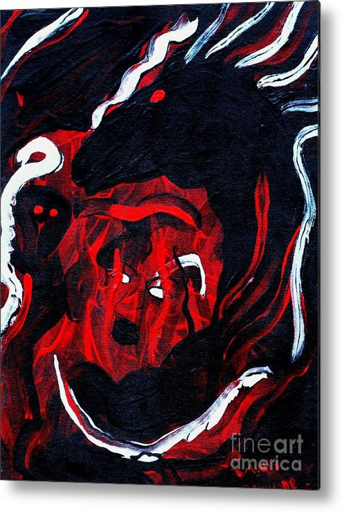 Horse Woman Red Black Silver Metal Print featuring the painting Hell Beast by Dawn Downour