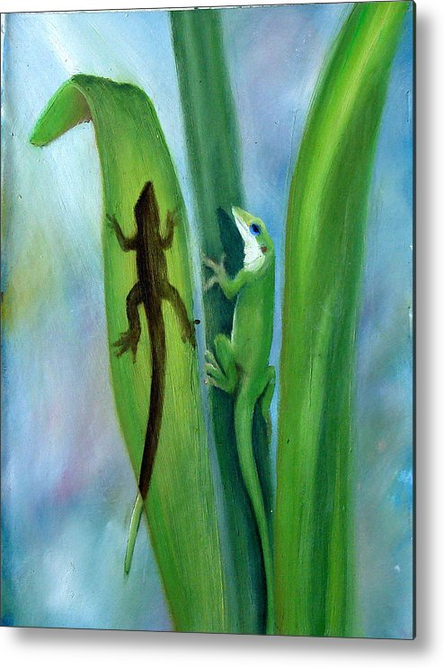 Geicko Metal Print featuring the painting Here Lizard Lizard by Darlene Green