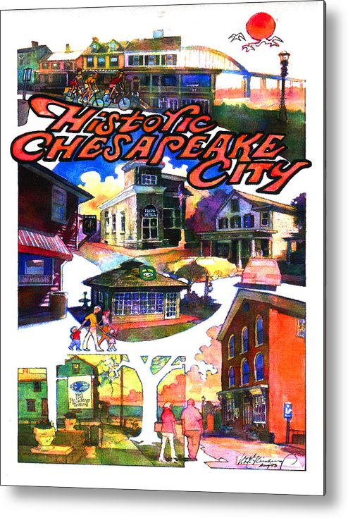 Historic Chesapeake City Metal Print featuring the painting Historic Chesapeake City Poster by Craig A Christiansen