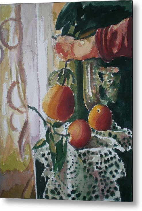 Still Life Metal Print featuring the painting Holding  An Orange by Aleksandra Buha
