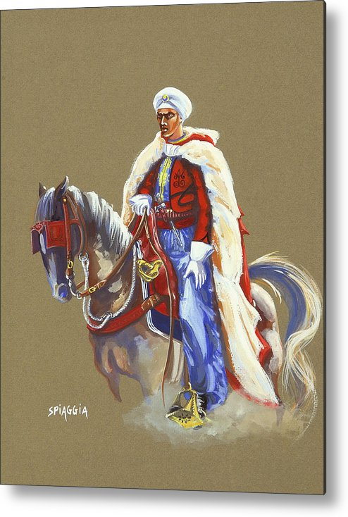 Horse Metal Print featuring the painting Horseriding Spahi Recruit by Josette SPIAGGIA