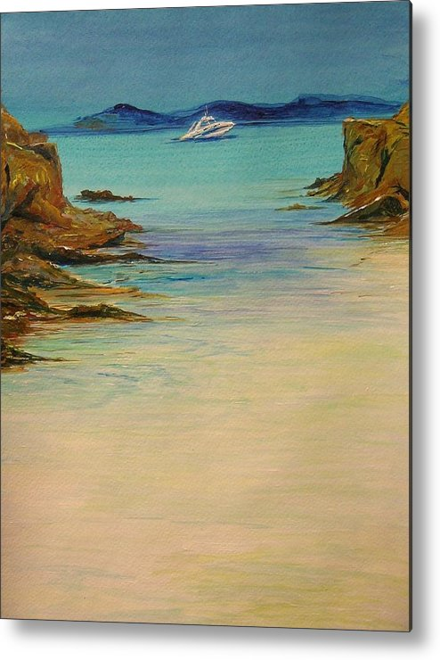 Seascape Original Painting Metal Print featuring the painting Ibiza In The Distance.... by Lizzy Forrester