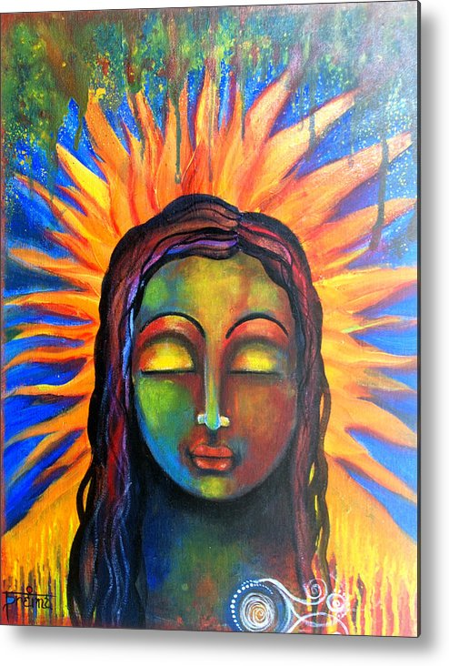 Zen Metal Print featuring the mixed media Illuminated By Her Own Radiant Self by Prerna Poojara