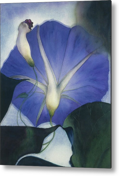 Morning Glory Metal Print featuring the painting Into The Blue by Nancy Ethiel