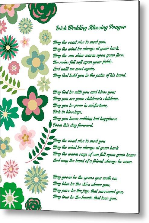 Irish Wedding Blessing Prayer Metal Print by Celestial Images