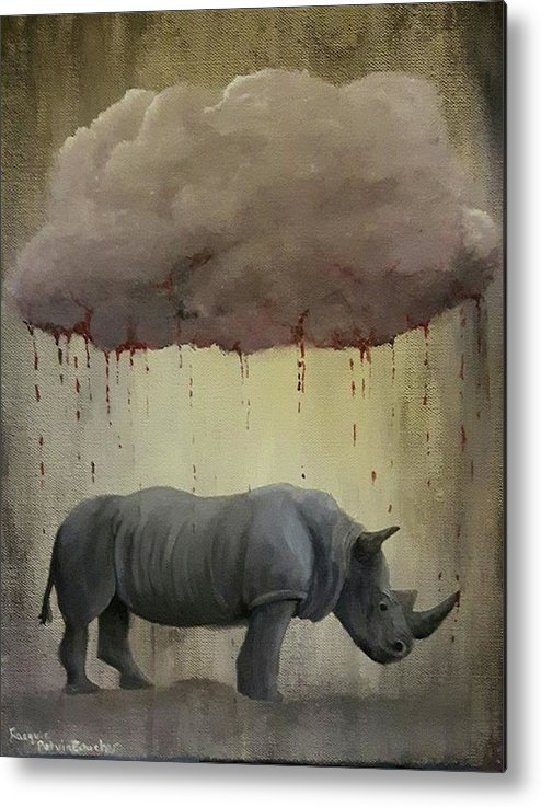 Rhino Metal Print featuring the painting It's Not Always As It Seems by Jacquie Potvin Boucher