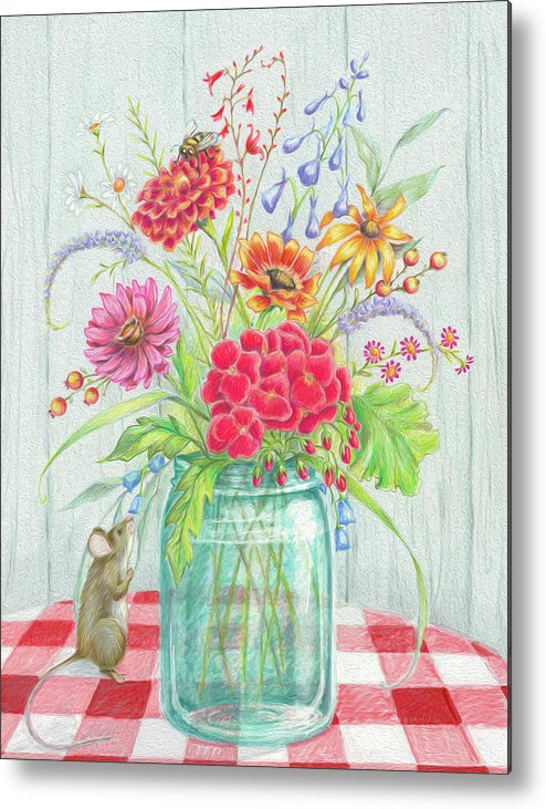 Flowers Metal Print featuring the mixed media Jar Of Flowers by Heidi Thompson