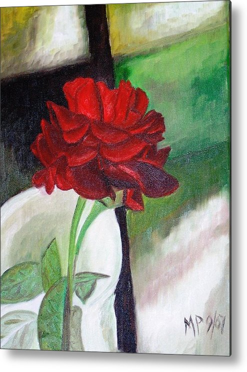 Floral Metal Print featuring the painting Jennifers Rose by Madeleine Prochazka