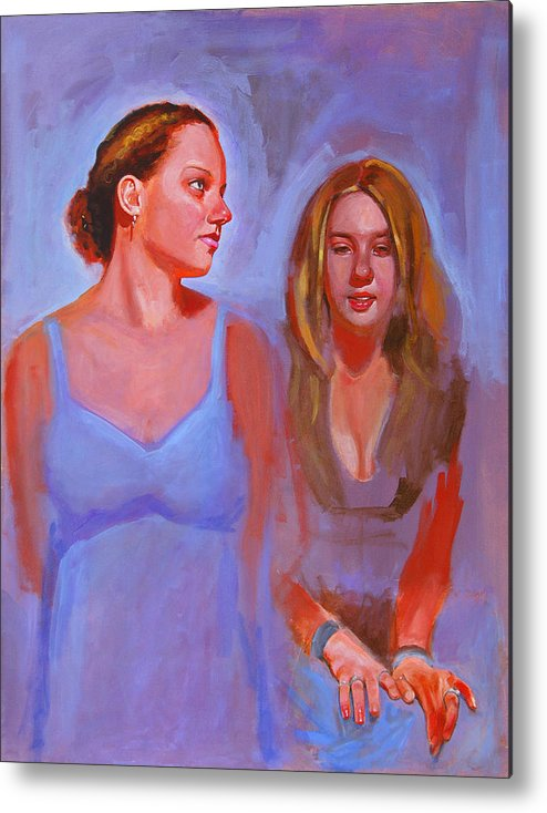 2 Girls Metal Print featuring the painting Jessica And Kate by John Tartaglione
