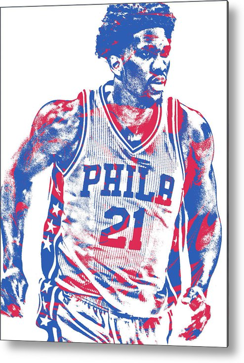 Joel Embiid Metal Print featuring the mixed media Joel Embiid Philadelphia Sixers Pixel Art 12 by Joe Hamilton