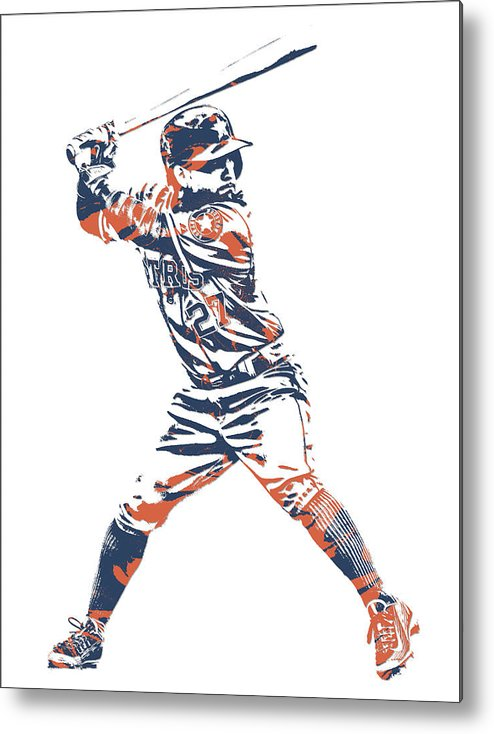 low priced e1d6e 0c537 Jose Altuve Houston Astros Pixel Art 11 Metal Print
