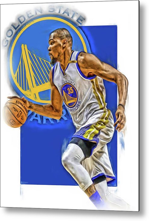 Kevin Durant Metal Print featuring the mixed media Kevin Durant Golden State Warriors Oil Art by Joe Hamilton