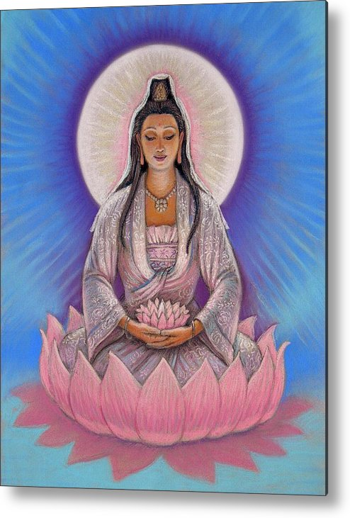 Kuan Yin Metal Print featuring the painting Kuan Yin by Sue Halstenberg