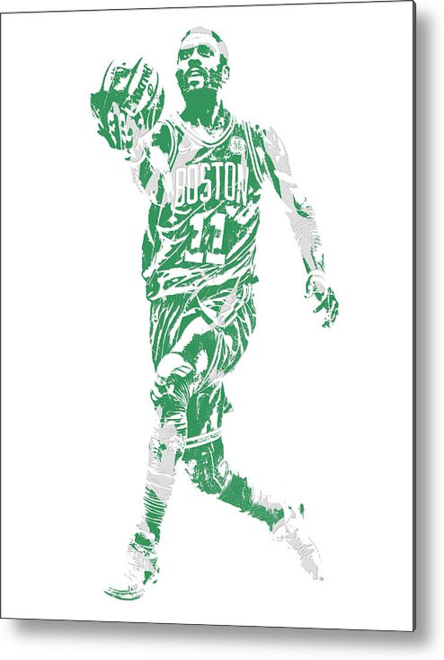 Kyrie Irving Metal Print featuring the mixed media Kyrie Irving Boston Celtics Pixel Art 43 by Joe Hamilton