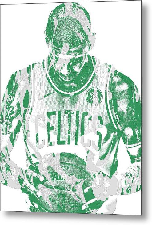 Kyrie Irving Metal Print featuring the mixed media Kyrie Irving Boston Celtics Pixel Art 5 by Joe Hamilton