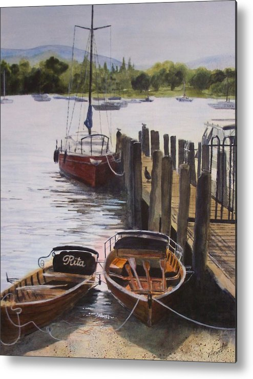 Boats Metal Print featuring the painting Lake Windermere by Victoria Heryet