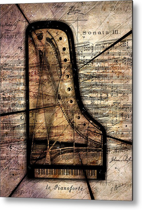 Piano Metal Print featuring the digital art Le Pianoforte Variation II by Gary Bodnar