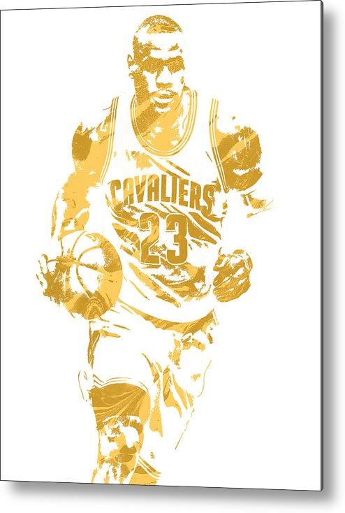 Lebron James Metal Print featuring the mixed media Lebron James Cleveland Cavaliers Pixel Art 7 by Joe Hamilton