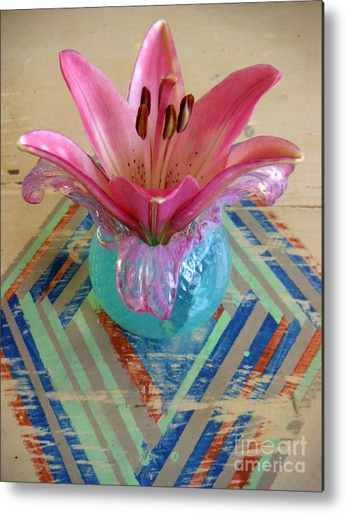 Nature Metal Print featuring the photograph Lily On A Painted Table Too by Lucyna A M Green