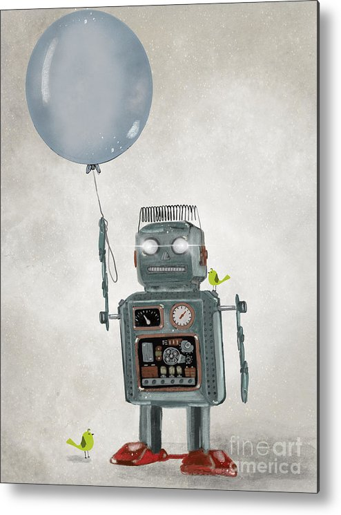 Robots Metal Print featuring the painting Little Robot by Bri Buckley