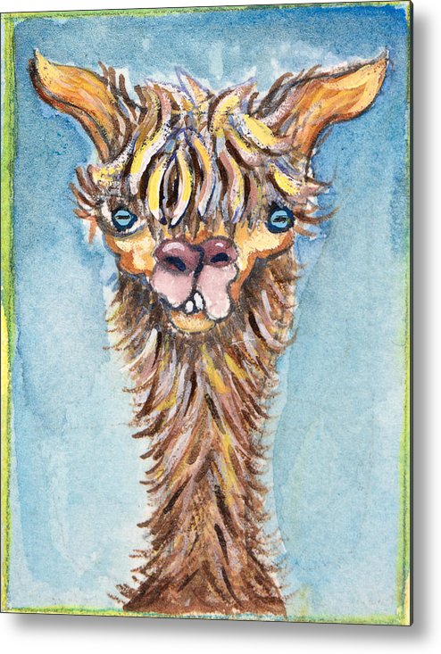 Animals Metal Print featuring the painting Long Neck Alpaca by Michelle Spiziri