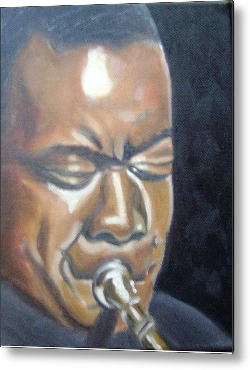 Louis Armstrong Metal Print featuring the painting Louis Armstrong by Toni Berry