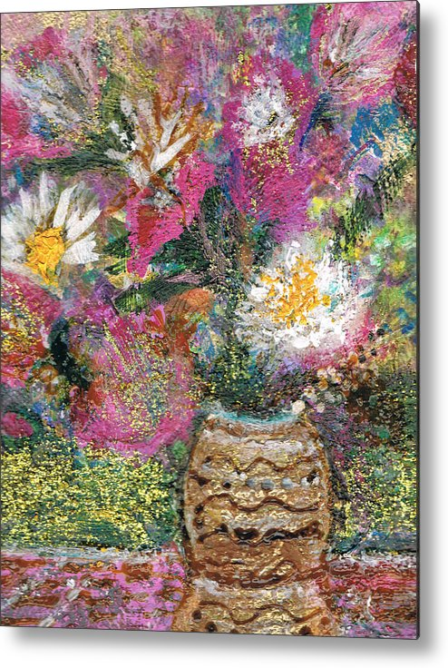 Flores Metal Print featuring the painting Love And A Daisy On The Side by Anne-Elizabeth Whiteway