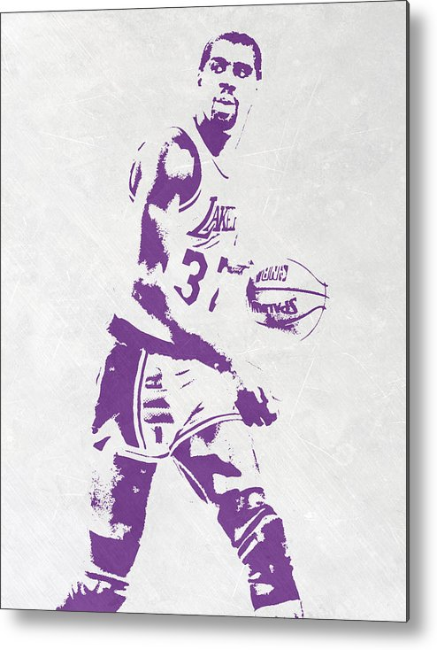 Magic Johnson Metal Print featuring the mixed media Magic Johnson Los Angeles Lakers Pixel Art by Joe Hamilton