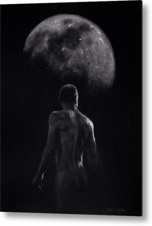 Male Nude Metal Print featuring the drawing Male Nude 16. Moonwalker. by Tai Lin