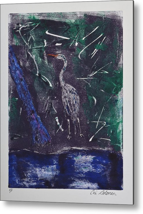Monotype Metal Print featuring the mixed media Marsh Magic by Cori Solomon