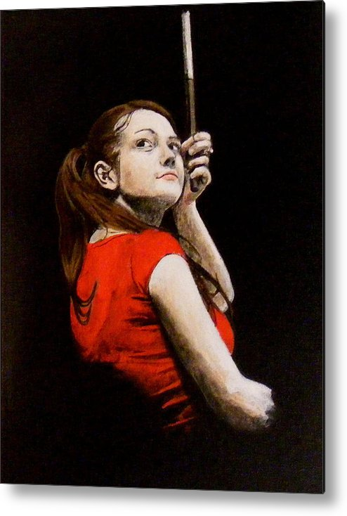 Meg White Metal Print featuring the painting Meg White by Luke Morrison