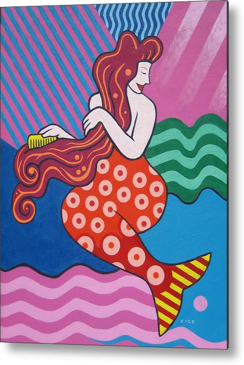 Mermaid Art Metal Print featuring the painting Mermaid In The Morning by Vico Vico