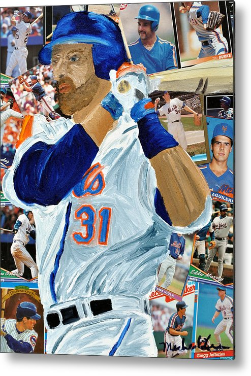 Mets Metal Print featuring the painting Mike Piazza by Michael Lee