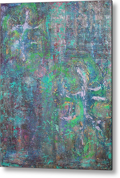 missing pieces i textured metallic abstract acrylic painting blue