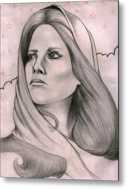 Portrait Metal Print featuring the drawing Misty by Marco Morales