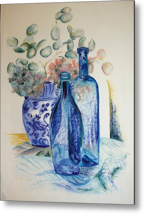 Still Life Metal Print featuring the drawing Monnaie Bleue by Muriel Dolemieux