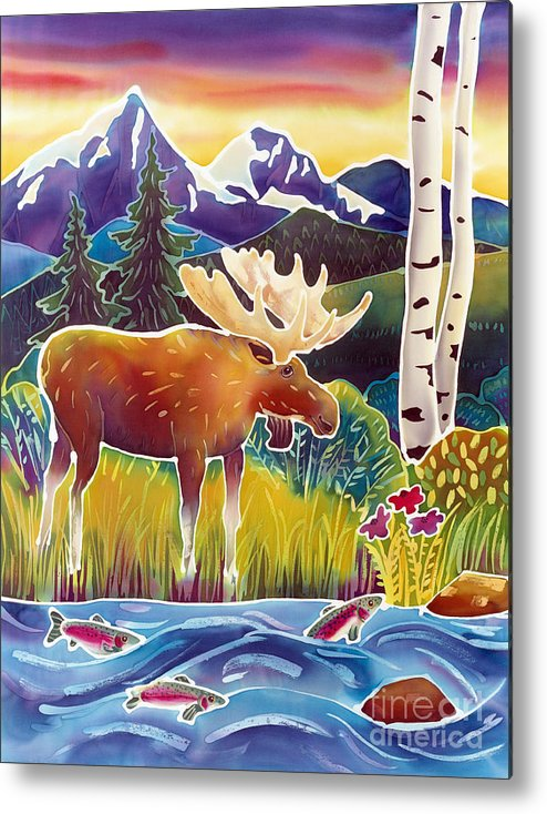 Moose Metal Print featuring the painting Moose On Trout Creek by Harriet Peck Taylor