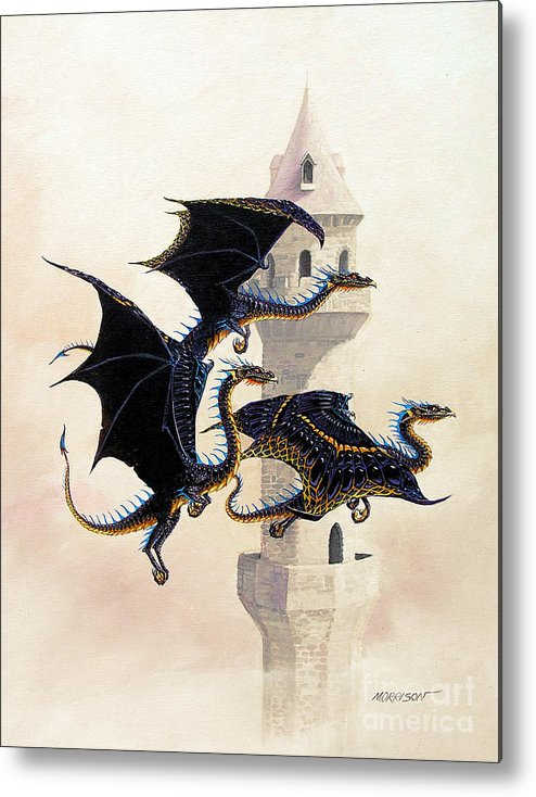 Dragon Metal Print featuring the painting Morning Flight by Stanley Morrison