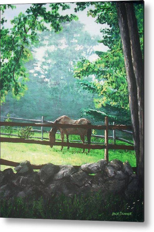Horse Metal Print featuring the painting Morning Pasture by Jack Skinner